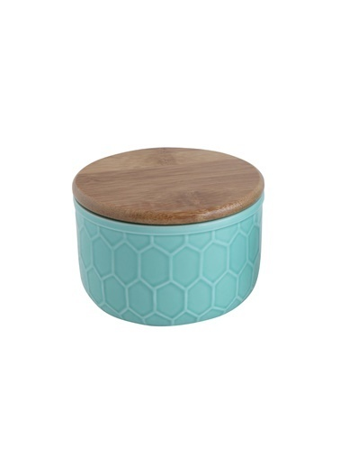 Warm Design Bambu Kapaklı Seramik Saklama Kabı Mavi